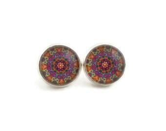 Mandala Earrings, Kaleidoscope Jewelry, Purple Orange Green, Gift Ideas for Teen Girls, Pretty Stud Earrings for Women, Nickel Free Earrings