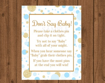 Blue and Gold Baby Shower, Don't Say Baby Game, Blue and Gold Clothes Pin Game, Blue and Gold Baby Shower, Boy Shower, Instant Download