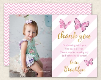 Butterfly Photo Thank You Cards - Butterfly Birthday Party - Professionally printed *or* DIY printable