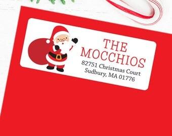 Christmas Address Labels - Waving Santa With Sack - Sheet of 30