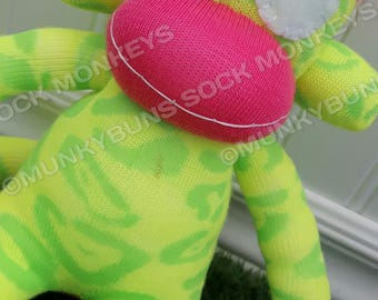 CLEARANCE - FLAWED - Fluorescent Sock Monkey Doll - Optional Name Embroidered