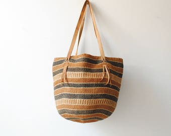 Vintage Woven Straw Bag, Beach Bag, Market Bag, Tote Bag, Boho Bag