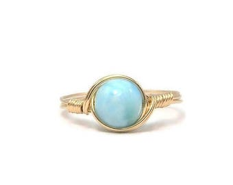 25% Off Sale Larimar 14k Yellow Gold Fill Wire Wrapped Ring Custom Sized