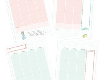 Printable A5 BLANK WEEKLY Calendars - Digital File Instant Download- planner insert, planning, pastels, florals, Spring
