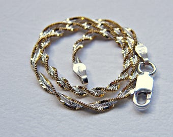 Dainty silver gold bracelet, twisted chain mixed metal bracelet, delicate bracelet sterling silver edged with gold, lobster clasp