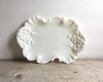 Vintage Ornate Milk Glass Platter Embossed Floral Scroll Scallop