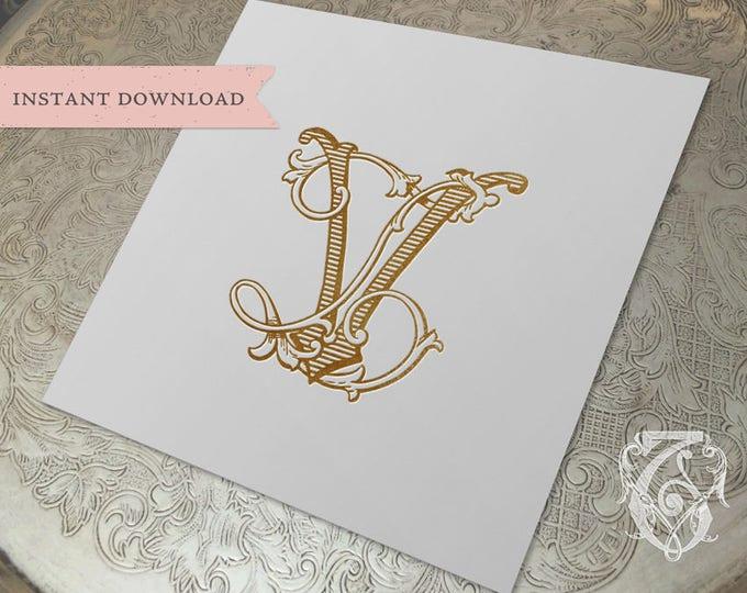 Vintage Wedding Monogram VL LV Digital Download V L