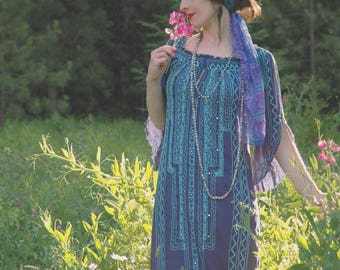 Caftan /Long Sleeve Bohemian Dress / Embroidered / Beach Cover Up / Maxi Dress / Boho Dress / Gypsy Dress