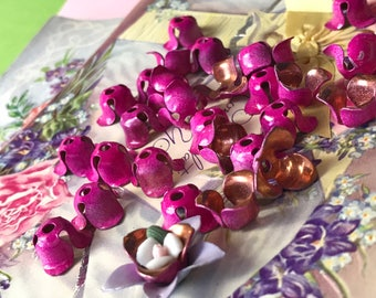 8 Enameled Beads Caps, Vintage copper Bead Caps, steampunk flower beads, Shabby Chic Beads, Cottage Chic, Pink bead caps, 10x7mm #1418C
