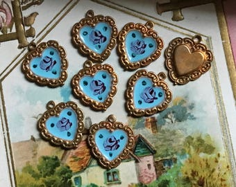 4 Vintage Blue Guilloche Charms, Brass Hearts, 14x12mm, valentine Hearts, Enamel Hearts, shabby chic hearts, enameled heart charms #G53BD
