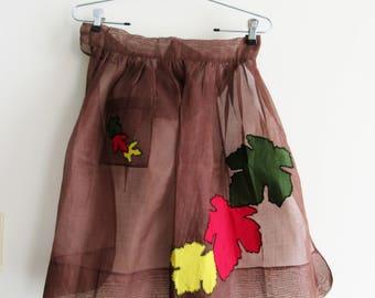 Vintage Half Apron Sheer with Pocket and Appliqued Leaves