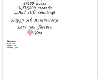Anniversary Husband Handkerchief 5th Anniversary Gift Cotton Anniversary Gift Embroidered Hankerchief