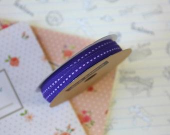 Dark Purple skinny stitched ribbon