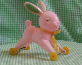 Pink Easter Bunny Rabbit on Wheels, Hard Plastic 1950s Era Toy