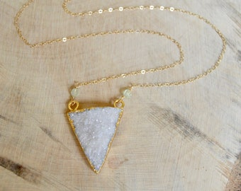 Triangle Natural Druzy Agate Necklace. Gold Filled Necklace.
