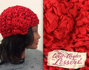 Vintage 1940s Red Ribbon Turban Hat