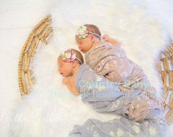 Shabby Rose Baby Headband, Headband, Baby Girl Headband, Newborn Headband, Shabby Chic Floral Print Headband