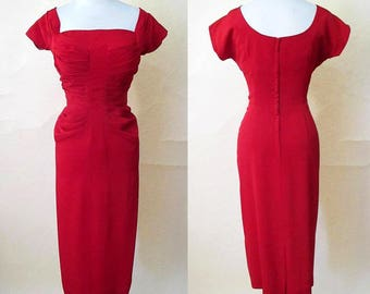 """Stunning Lipstick Red 1950's Designer Cocktail Party Dress by """"Emil """" of California Pinup girl Vintage Hollywood chic Size medium"""