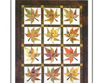 Lazy Leaves Quilt Pattern ~ Autumn Fall Leaves Quilt Pattern ~ Fat Quarter Friendly Pattern ~ FQ Quilt Pattern ~ Far-Flung Quilts FFQ015