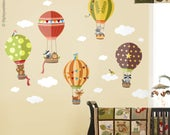 Air Balloons Wall Decal, Forest Woodland Animals Wall Decal Sticker, Hot Air Balloons Wall Sticker for Nursery Baby Kids Room Decor