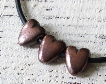Mykonos Antique Bronze Heart Beads - Jewelry Making Supply - - 8x10mm Heart Beads - Large Hole - Made In Greece - Choose Amount