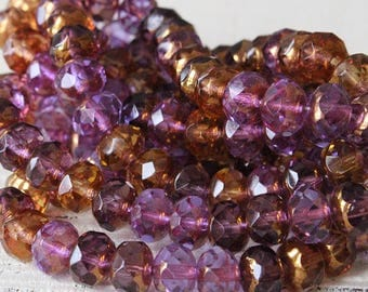 6x9 Rondelle - 9x6mm Rondelle Beads - Czech Glass Beads For Jewelry Making - Firepolished Jewelry Supplies -  Amethyst Amber - Choose Amount