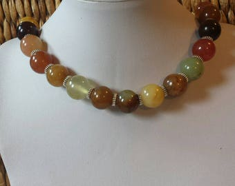 Great choker Natural Stone Agates of earthy colors stunning