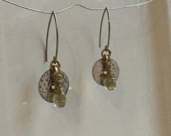 Wire wrapped lemon quartz dangle earrings