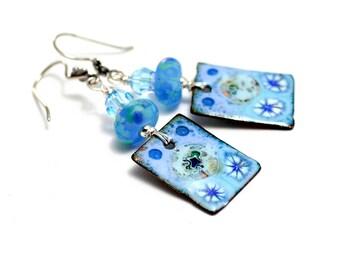 Cerulean Blue Lampwork Bead Earrings. Small Dangle Earrings. Artisan Enamel Charms. Boho Gypsy Earrings. Gifts For Her. Glass Bead Jewelry.