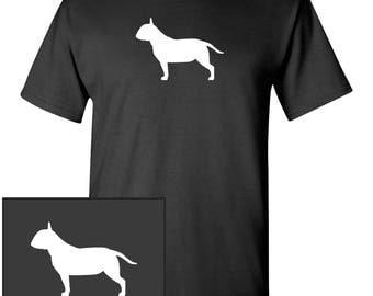 Bull Terrier Dog Silhouette Custom T-Shirt - Men Women Youth Kids Long Sleeve Personalized Tee