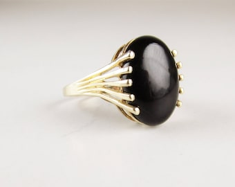 Vintage 10k Gold and Onyx Ring, Art Deco Inspired