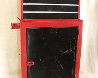 Vintage Tool Box, Storage, Organization, Cabinet, Chest of Drawers, Workshop, Studio, Garage, Metal, Industrial,Art Supply Storage,Red,Black