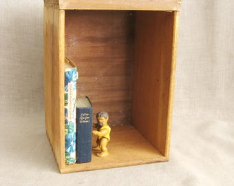 Vintage Wooden Storage Box, Drawer, Organization, Cubical, Book Holder, Studio Supplies, Arts and Craft Supplies, Assemblage, Bins, File Box