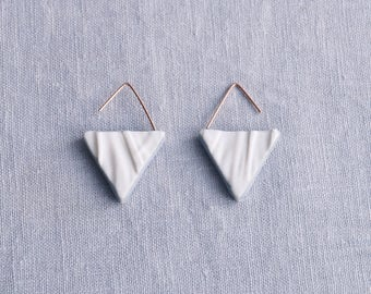 RUCHED No16 geometric triangle earrings porcelain earrings rose gold earrings white blue grey drop earrings geo earrings