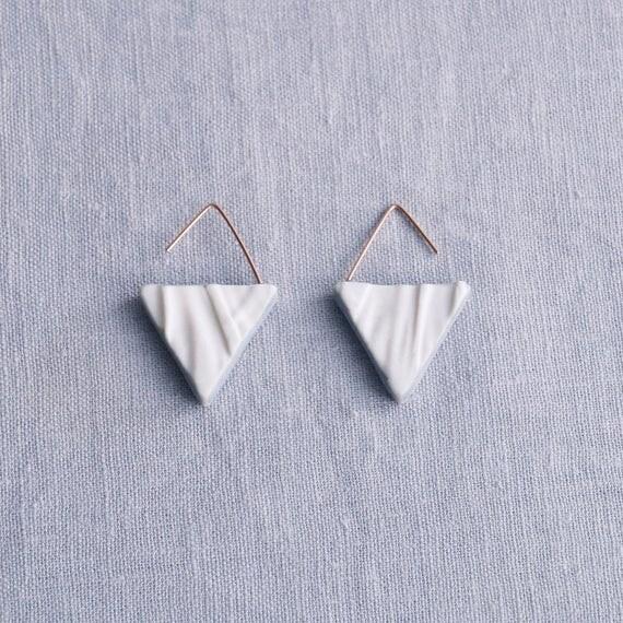 RUCHED No16 geometric triangle earrings porcelain earrings rose gold earrings white blue grey drop earrings geo earrings