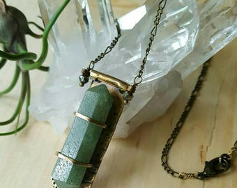 HANDMADE// Aventurine Crystal Double Terminated Point Brass Plate Metalsmith Necklace