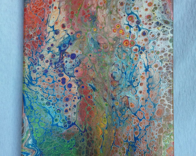 """Fluid Art, Abstract Painting, Flow Painting, Rainbow Painting, """"Fairy Mirage"""" by Monique Lula, 8x10 inch, Acrylic Painting"""