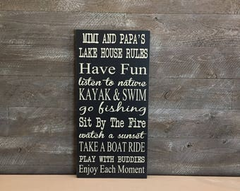 Lake Sign ~ Lake House Sign ~ Mimi and Papa's Lake House ~ Lake House Rules Wooden Sign ~ Lake House Decor ~ Family Rules ~ House Rules Sign
