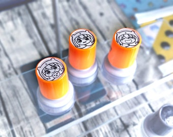 "Himouto Umaru-chan 1"" Self Inking Refillable Stamps | 25mm Happy and Crying Umaru | 干物妹!うまるちゃん | Kawaii chibi gift"
