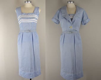 1950s Gingham Cotton Sundress and Jacket / 50s Cotton Day Dress and Jacket