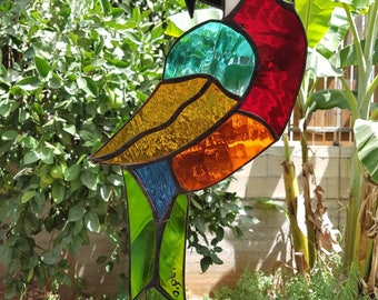 Parrot, Macaw, Large, Glass, Design, Home Decoration, Gift, Stained glass, Bird, Free Shipping