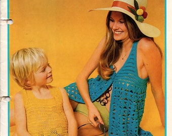 Patons 333 Vintage 70s Crochet Patterns for Women Men Kids 7 Patterns including Longline Vests Dress Cardigan Skirt etc
