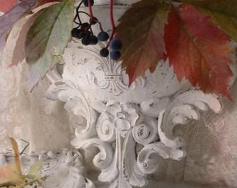 Pocket Vase Sconce Framed Mirror Wall Decor. French Chic Ornate Vintage Painted Set. Fleur de lis French Brocante