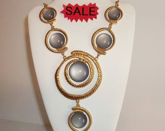 Vintage Necklace Jewelry Costume Statement Piece Large Blue Gray And Gold Fashion Accessory Retro Huge Big Chunky Funky Style wvluckygirl