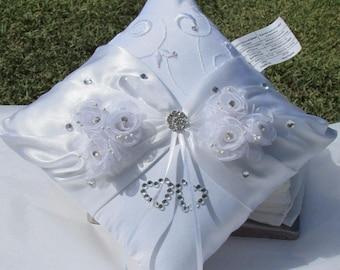 Wedding Gown White Satin Bridal Ring Pillow