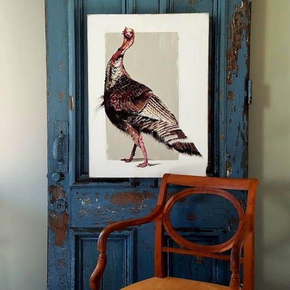 Willd Turkey Strut original acrylic painting on repurposed wood