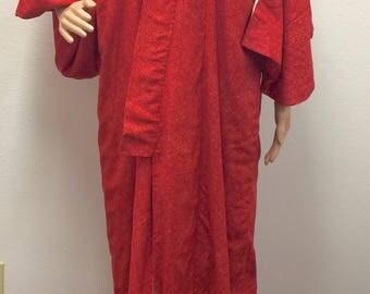 40s Red Kimono Robe Cotton Japan Japanese Asian Traditional Wrap