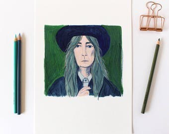 A4 Giclee Art Print - Illustrated Portrait Artwork of Musician Patti Smith