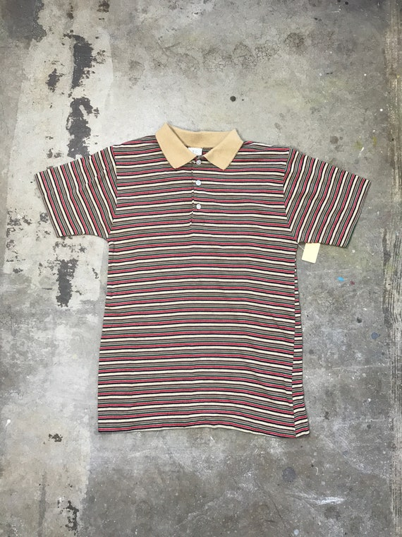 80s  Neutral Colors Striped Polo Shirt