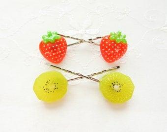 Strawberry Kiwi Hair Pins / Kawaii / Bobby Pins / Cute / Summer / Fruit / Hair